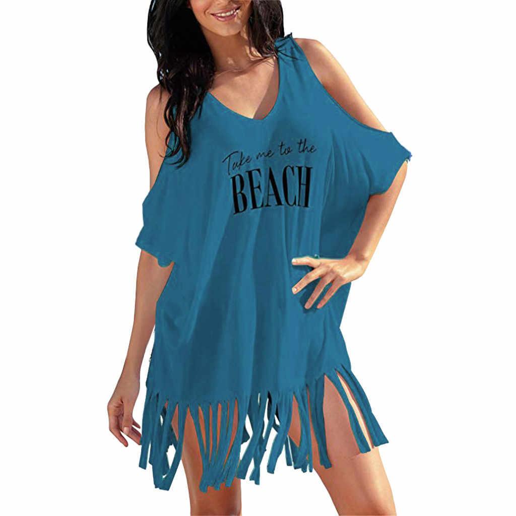 Kobiety sukienka Sexy krótkie sukienki kobiet kitki litery druku luźne stroje kąpielowe osłona do bikini-up plaża sukienka Sundress #40