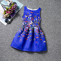 New fashion sleeveless O-neck casual girls dress variety types of beauiful patterns colorful knee-length dresses girls clothes