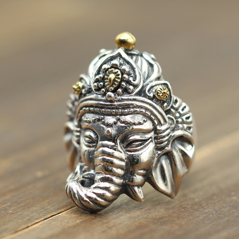 S925 silver elephant god man ring opening domineering personality retro carved old silver Zhaocai fingerring