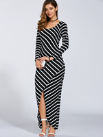 Women Elegant 2017 Summer Petite Striped Asymmetrical Long Sleeve Slit Jersey Maxi Casual Dress
