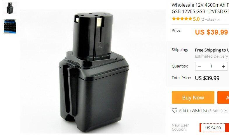 Wholesale 12V 4500mAh Power Tool Battery For Bosch 12 Volt Drills GSB 12V GSB 12VES GSB 12VESB GSB 12VESP b-8220 BOSCH GBM 12 VE недорго, оригинальная цена