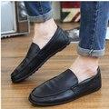 Nueva Moda de Los Hombres Casuales Coreano Casual Para Hombre Zapatos de Cuero Suave Pisos Resbalón Perezosos Zapatos Casuales Transpirable Verano 29