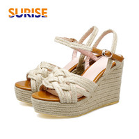 Big Size 10cm High Heel Summer Women Sandals Wedge Platform Open Toe PU Leather Hemp Buckle Casual Party Lady Ankle Strap Shoes