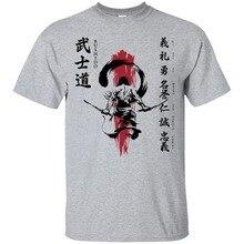 مروحة السامرائي المحارب اليابانية سبعة فضائل بوشيدو 2019 جديد قمصان قصيرة الأكمام أزياء الرجال قميص قطني برقبة مدورة T قميص