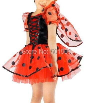 Freeship childrens girls lady beetle ladybug/ladybird costume dress fairy tale dress with hairband