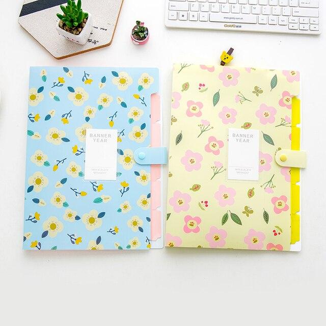 Coloffice 1PC Fresh Floral Filing Production Folder Multi-Function 5/8 Into Mezzanine File A4 Document File Folder School Office 6