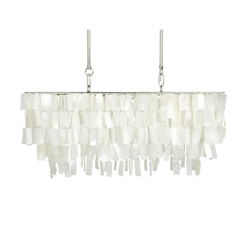 LED Chandelier Capiz Shell Rectangle Modern  Lamp Loft Dinning Room