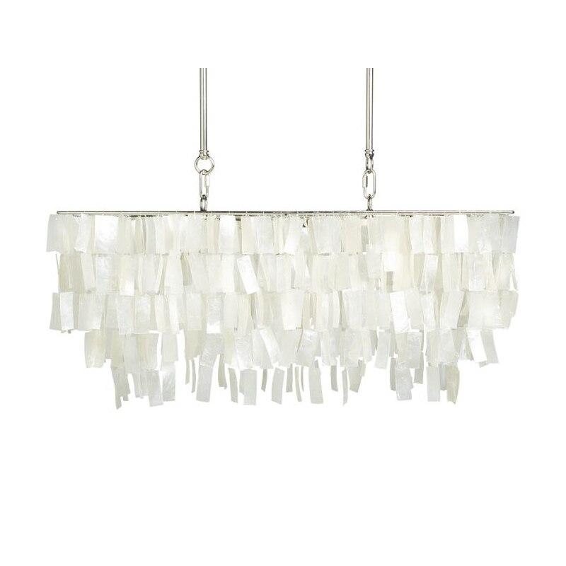 LED Lustre Capiz Shell Rectangle Moderne Lampe Loft Salle À Manger