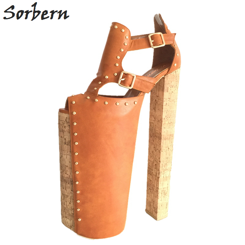 Sorbern <font><b>Extrem</b></font> <font><b>High</b></font> <font><b>Heel</b></font> Customized Thick Platforms Women Pump <font><b>Shoes</b></font> <font><b>Sexy</b></font> <font><b>Fetish</b></font> <font><b>Shoes</b></font> Show Runway Pumps Plus Size EU34-46 image