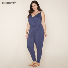 Women Large Size Jumpsuits Plus Size Ladies V Neck Sleeveless Big Size Long Jumpsuit Rompers