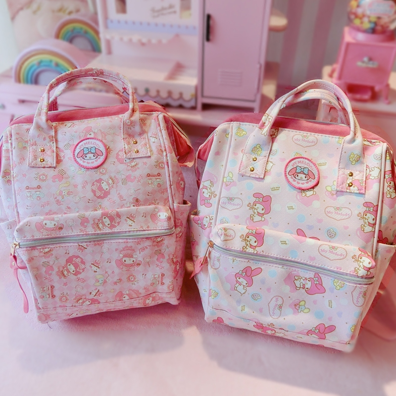 News Cartoon Cute Genuine My Melody Backpack Schoolbag High Quality Pu Pink Primary School Bags Melody Travel Bag For Girls Gift