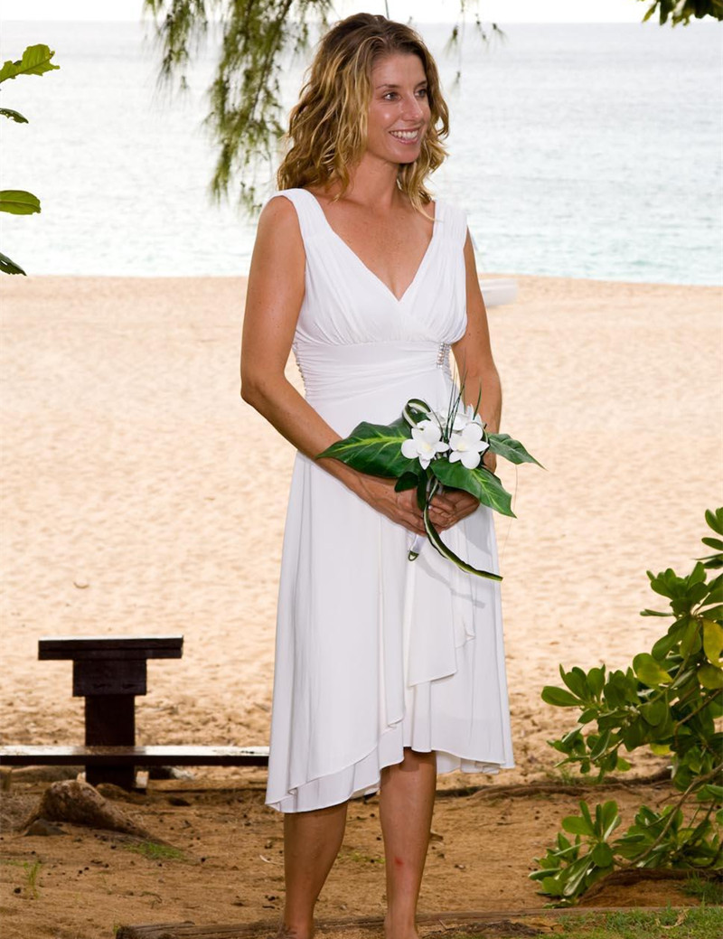 New Simple Design Short Chiffon Beach Wedding Dresses V Neck Elegant