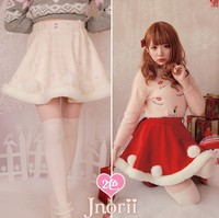 Princess sweet lolita skirt Bobon21 bobon gem belt Rabbit hair ball villi edge temperament Short skirt B1152