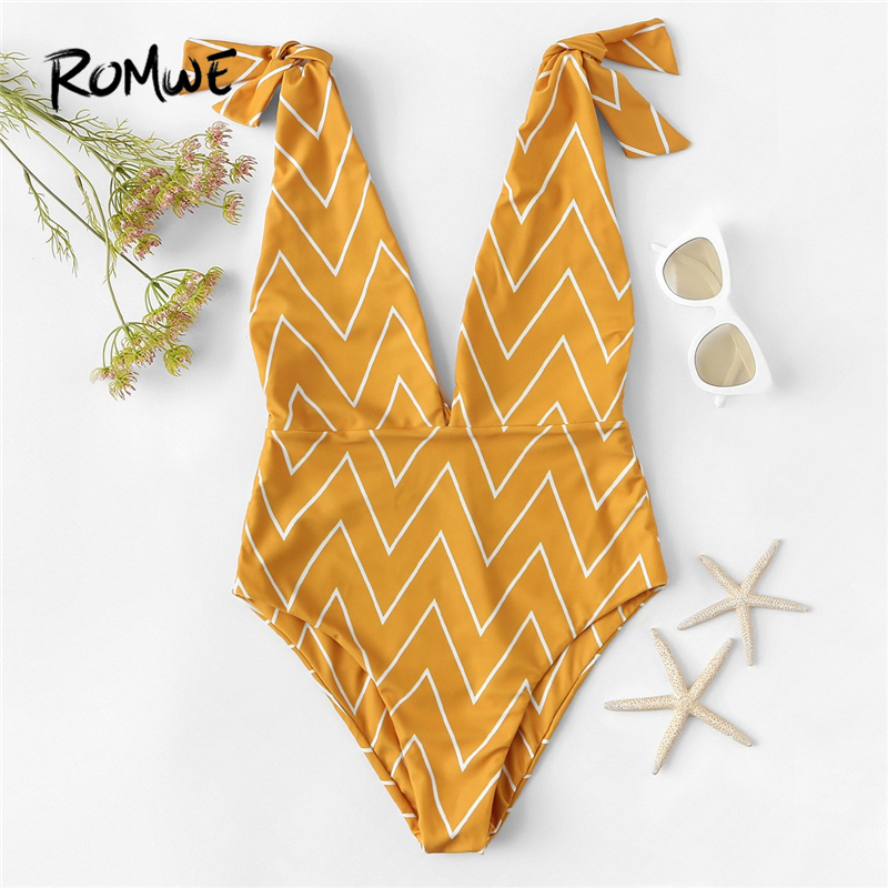 Romwe Sexy Swimsuit Monokini One-Piece Sport-Chevron High-Cut V-Neck Beach Women Summer