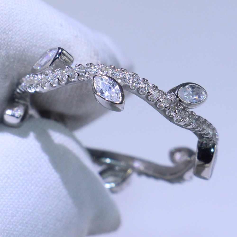 Классические милые простые ювелирные изделия ручной работы из 100% стерлингового серебра 925 пробы CZ для вечеринки для девочек для женщин Свадебное дерево ветка кольцо подарок