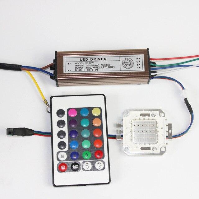 10 Вт 20 Вт 30 Вт 50 Вт 100 Вт COB меняющийся красный-зеленый-синий светодиодный чип светодиодный прожектор + светодиодный источник питания светоди...