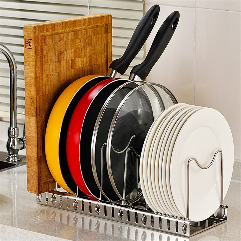 Metal Pan Pot Lid Organizer Adjustable Dish Rack Drainer Cutting Board Holder Cookware Stand Holder For Cabinet Storage