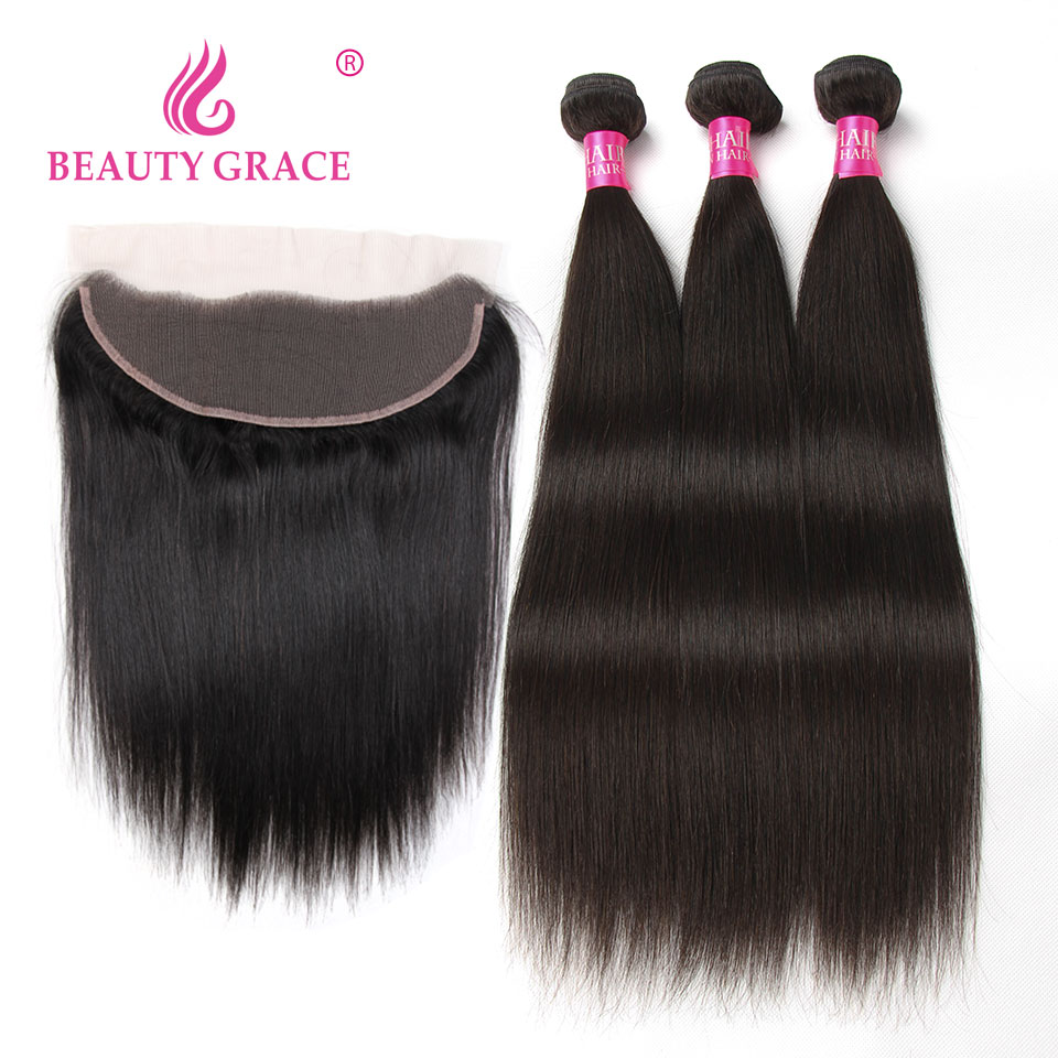 Bundles With Frontal 3 Bundle Malaysian Straight Human Hair Weave Bundles With Frontal NonRemy 13x4 Beauty