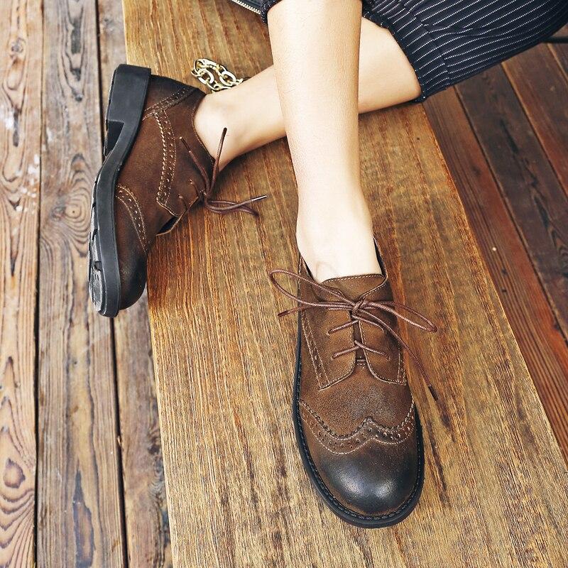 Britannico Donne Brown Il Sfumatura Scamosciata Genuino In Marca Per Scarpe Vendita Appartamenti Stile Retrò Oxfords Delle Progettista Femminile Tempo Pelle Lace Di Colore Libero up TFJclK13