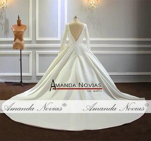 Image 2 - Vestido de novia sencillo de mangas largas de satén, nuevo Modelo 2020