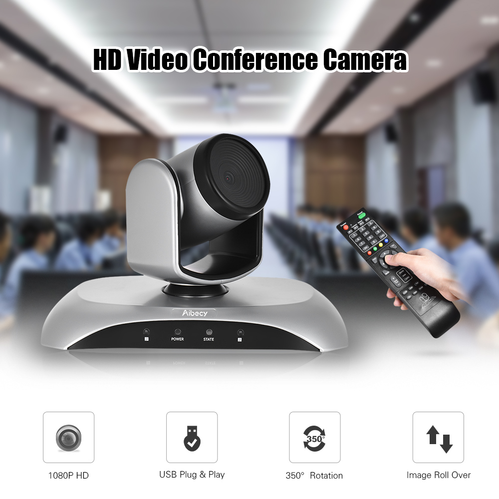 Aibecy 1080P HD Conference Camera USB Plug Play 350D Rotation Remote Control Power Adapter for Video