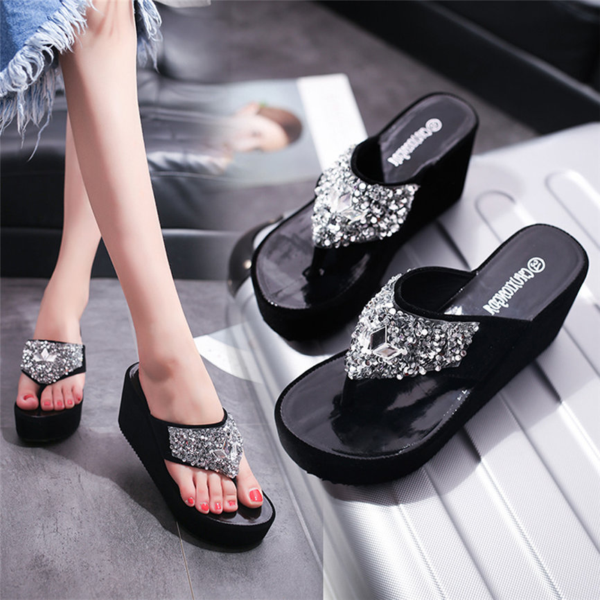 HTB1LA7paa5s3KVjSZFNq6AD3FXaG Women Sandals Summer Shoes Women's Slippers Rhinestone Wedges Flip Flops Fashion Clip Toe Beach Shoe For Women M23#30