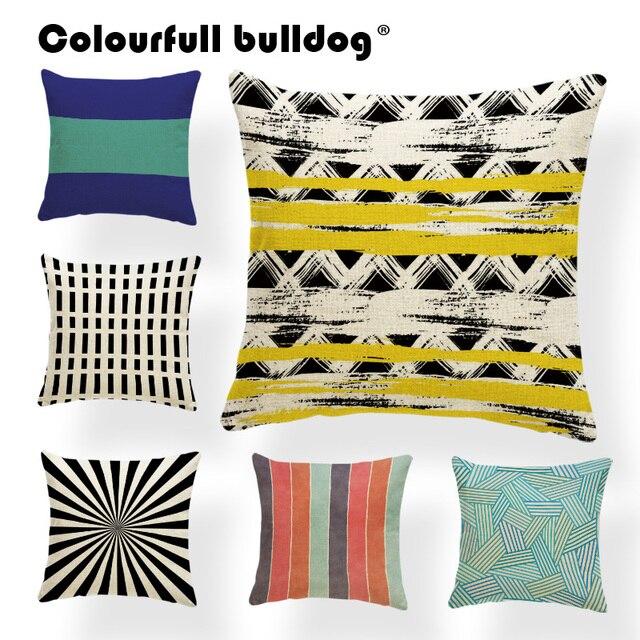 Geometry Cushions Line Pillow Cases Stripe Green Sofa Houseware Yellow Blue Brown Orange Throw Pillows 43cm