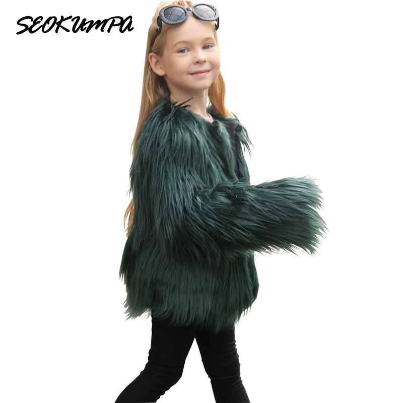 все цены на The New Winter Beach Wool Girls Coat Europe Style Female Faux Fur Girl Coat Warm Outerwear Jacket Children Overcoat Wholesale