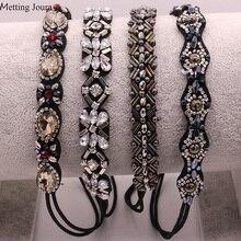 Metting Joura винтажная плетеная повязка на голову с металлическими бусинами, стразы, эластичная лента для волос для женщин и девушек, аксессуары для волос