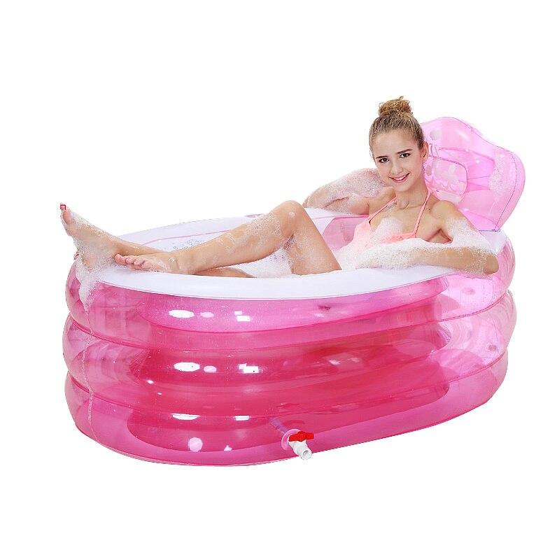 SPA inflatable bath tub adults Shower Tray Bidet Bathtubs 160cm*90cm*75cm Blue Pink Color BIg PVC Folding portable bathtub