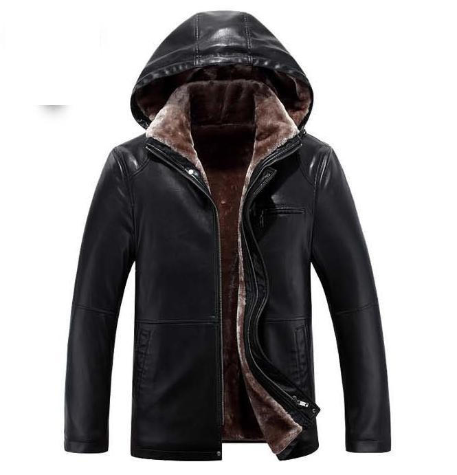 2018 New Mens Fur Blazer Collar Leather Jacket Men Business Plus Velvet Thick Leather Coat High-grade Imported Leather Jackets