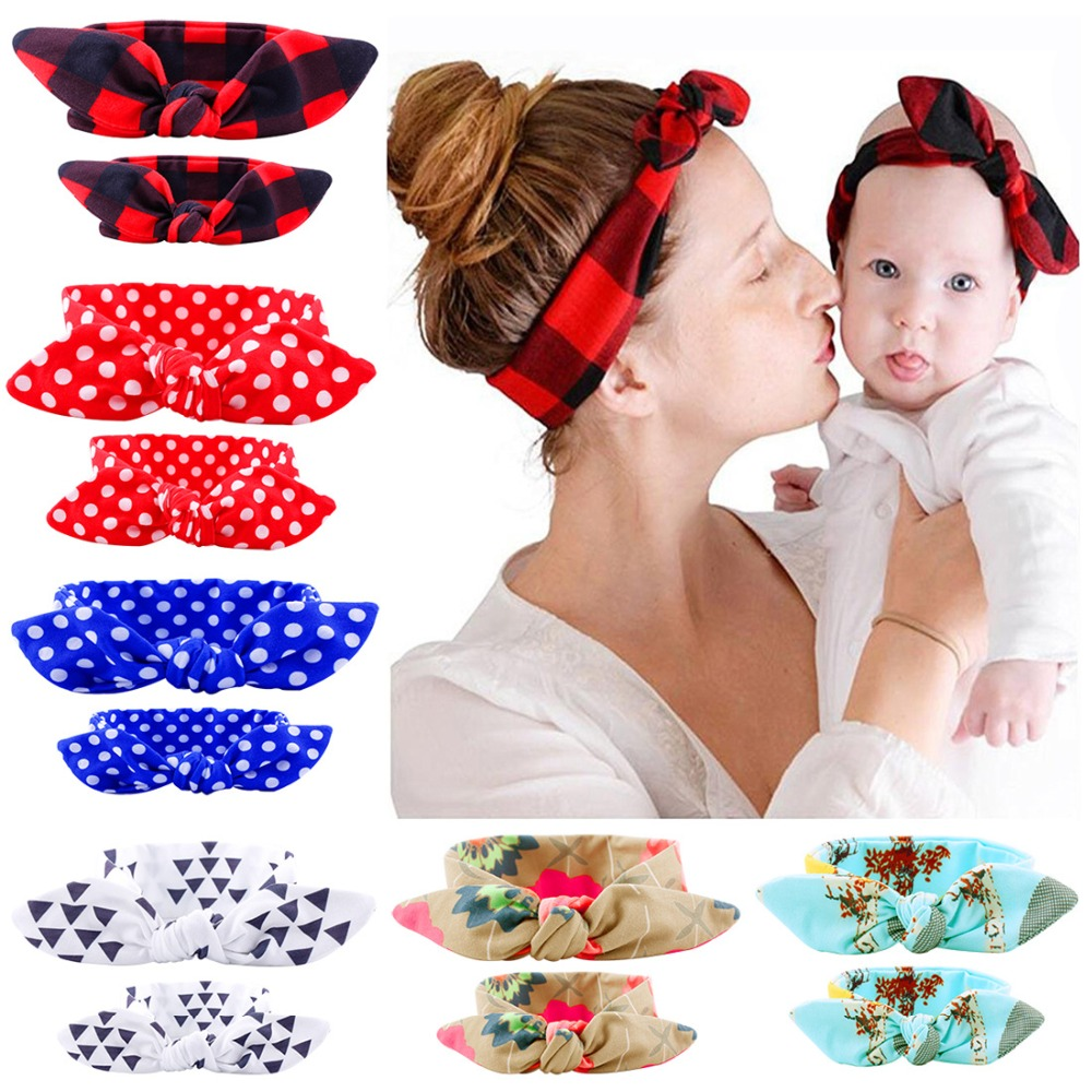 2Pcs/Set Headbands Mother Baby Turban Mom And Me Matching Headband Mom Daughter Rabbit Ears Floral Print Hair Accessories