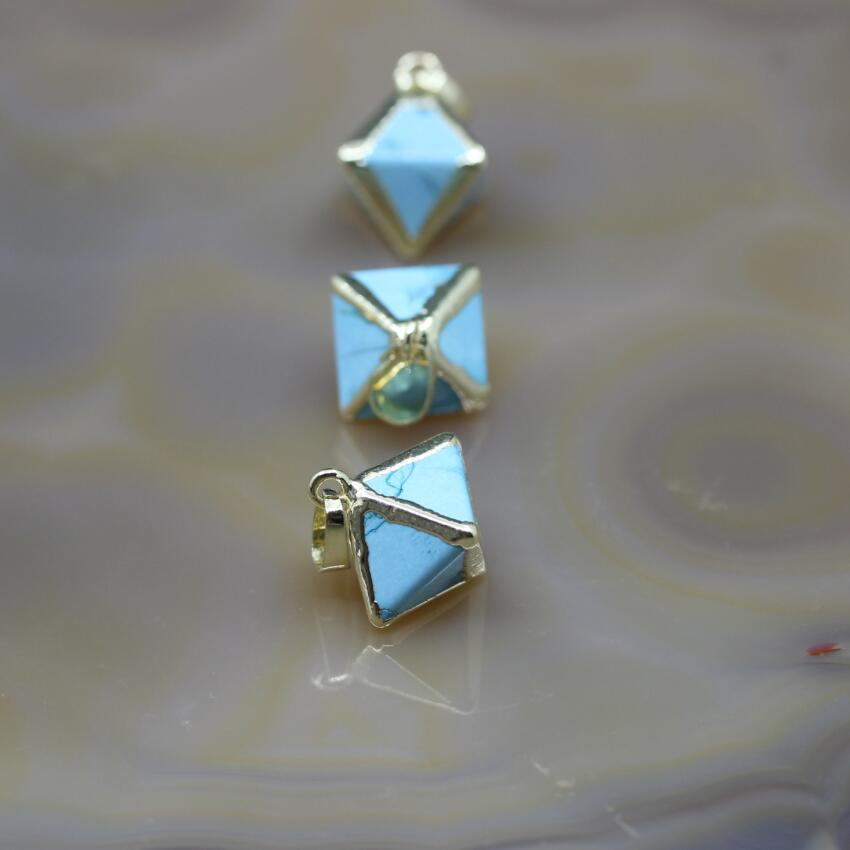 5Pcs lot Gold Edges Blue Turquoises Double Pyramid Nugget Charms Natural Stone Faceted Octahedron Shape Pendants Jewelry Making in Charms from Jewelry Accessories