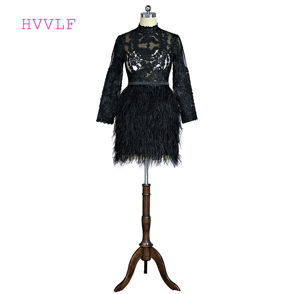 Black 2018 Elegant   Cocktail     Dresses   A-line High Collar Long Sleeves Short Mini Lace Feather Short Party Homecoming   Dresses