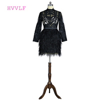 Black 2018 Elegant Cocktail Dresses A line High Collar Long Sleeves Short Mini Lace Feather Short Party Homecoming Dresses