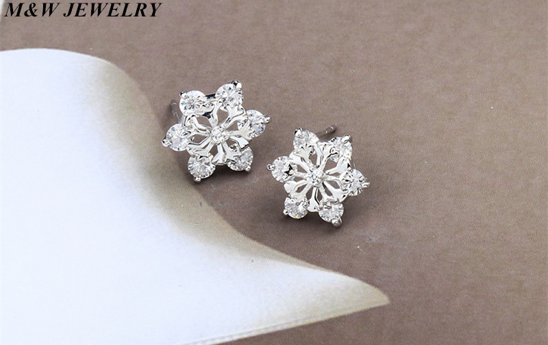 M&W JEWELRY 925 sterling silver Hot Fashion New 2017 Sliver Snowflake Stud Earrings For Women Wedding Jewelry Earings Wholesale