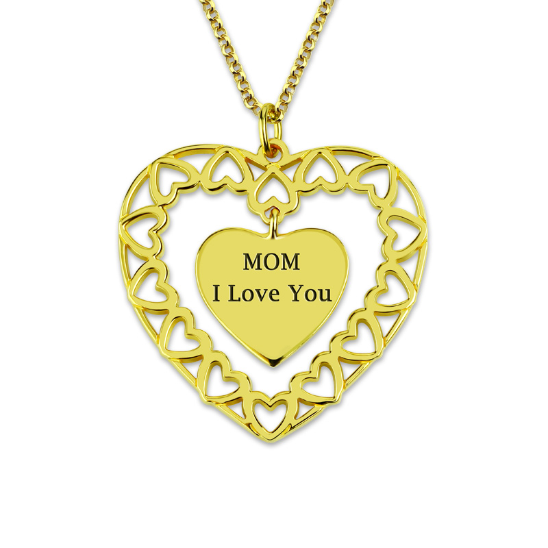AILIN Personalized Engraved Love Circle Necklace Love My Family Heart Necklace in Gold Color yoursfs love in circle 18k white gold plated heart shaped pendant necklace open heart engraved love for women best fashion jewel