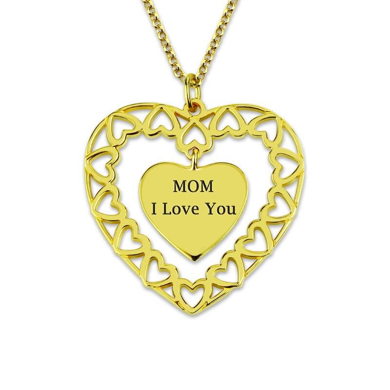Collier cercle d'amour gravé personnalisé AILIN Love My Family collier coeur en couleur or