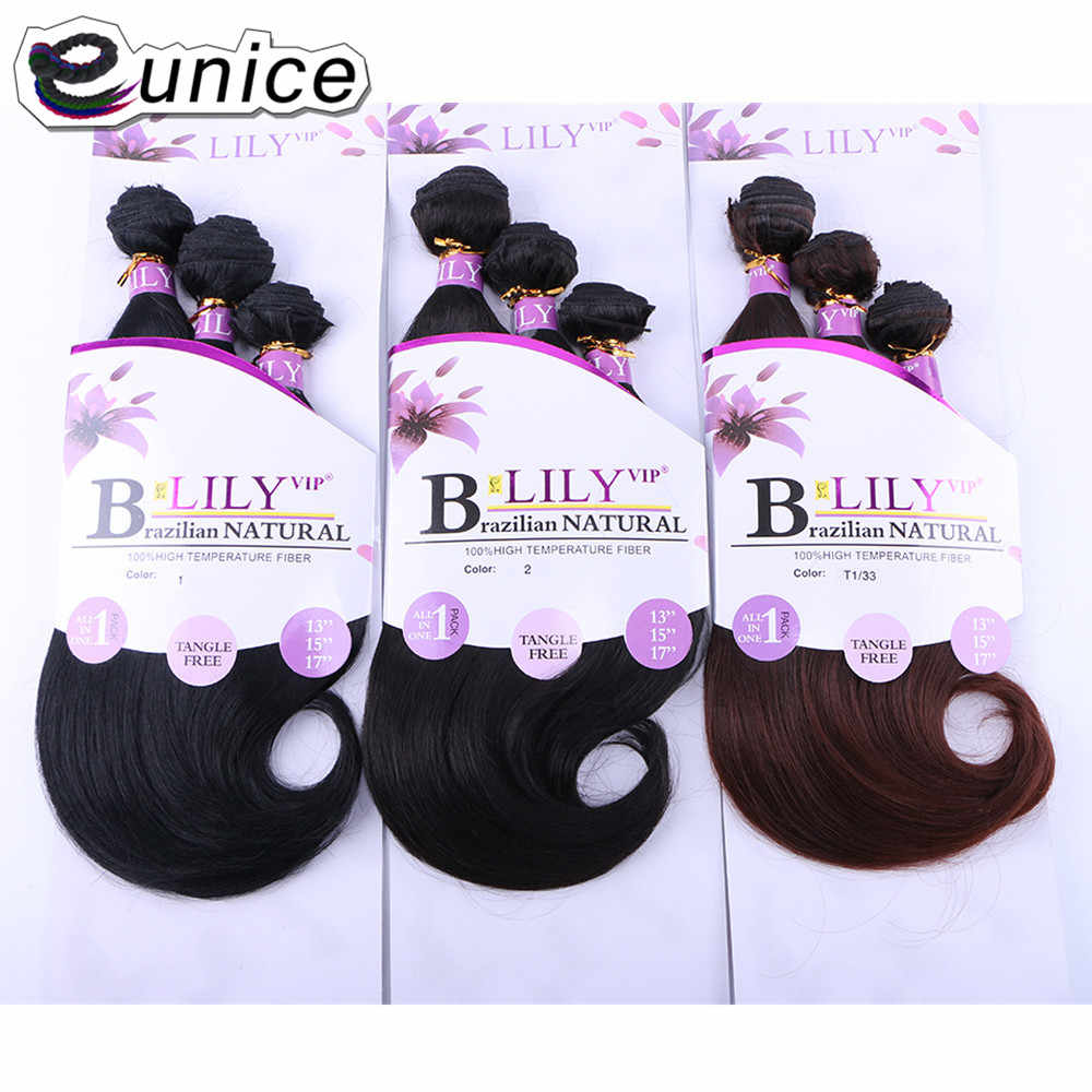 "EUNICE Synthetic Sew in Hair Extensions 3PCS/pack Natural Silky Weave Heat Resistant 13""15""17""Inch 200G Per Pack Hair Weft"