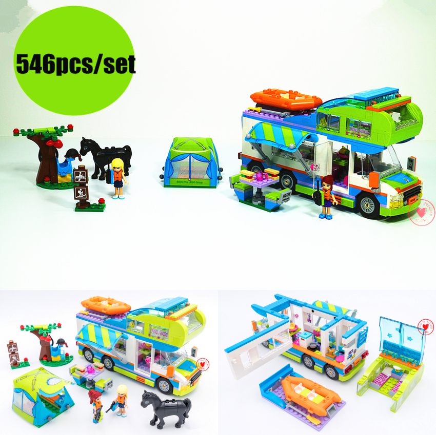 New heartlake Friends Girl bus Motorhome fit legoings friends figures city van model Building Blocks Bricks diy Toys kid girls 2018 new friends model building blocks toys snow resort chalet kid bricks toy girls 41323 compatible legoes friends gift kid set