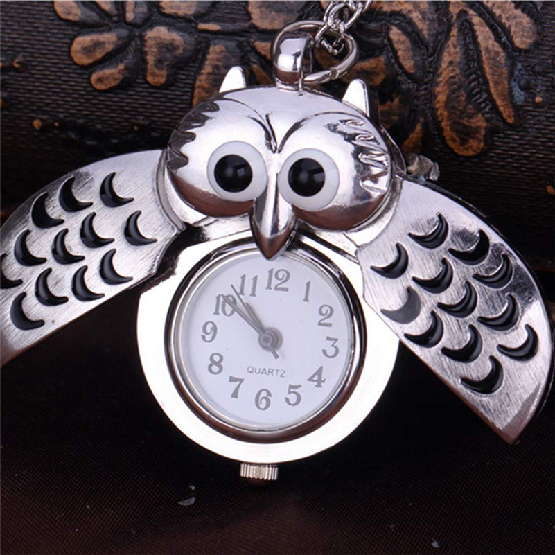 I0 Men Women Unisex Mini Metal Key Ring Owl Double Open Necklace Pocket Watch Quartz Watch Clock- Silver Gift Wholesale