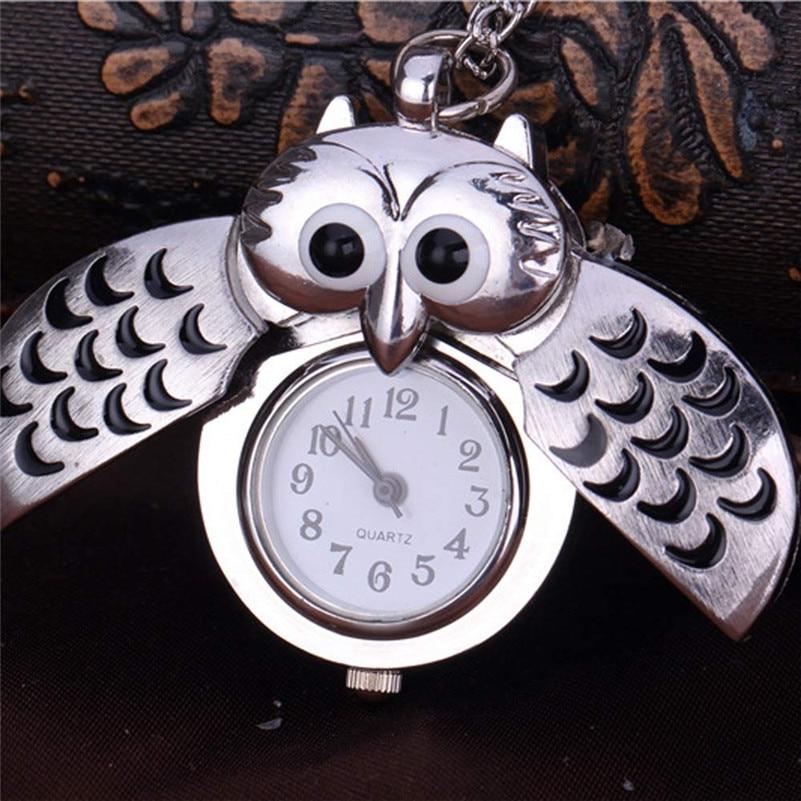I0 Men Women Unisex Mini Metal Key Ring Owl Double Open Necklace Pocket Watch Quartz Watch Clock- Silver Gift Wholesale