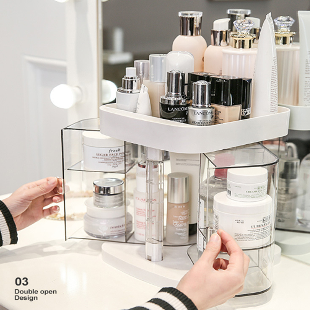 Image 2 - Hoomall New Clear Acrylic Makeup Storage Case Nail Polish Rack Lipstick Cosmetic Storage box Holder Makeup Brush Organizer-in Storage Boxes & Bins from Home & Garden