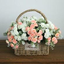 Flone 15 голова Мини Искусственные розы цветы День Святого Валентина подарок поддельные цветы для свадьбы украшения дома аксессуары