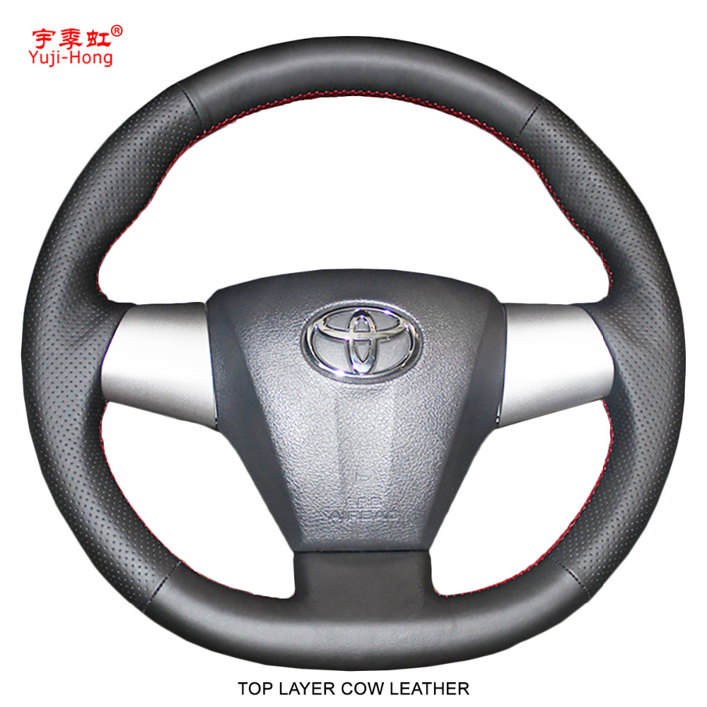 Yuji Hong Genuine Leather Car Steering Covers Case for Toyota Corolla 2011 RAV4 2012 2013 Top