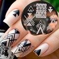 NACIDO BASTANTE Espacio Negativo Nail Art Sello Estampado de Plantilla Placas Radiográficas BP77 Fresco Triángulo Placa de Estampación de Uñas