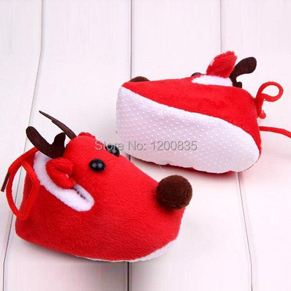 Baby Warm Winter Christmas Deer Shoes Sweet Anti Skid Toddlers Shoes Prewalkers