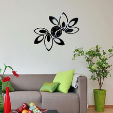 Modern 3D Acrylic Mirror Quartz Stickers Leaves Wall Clocks