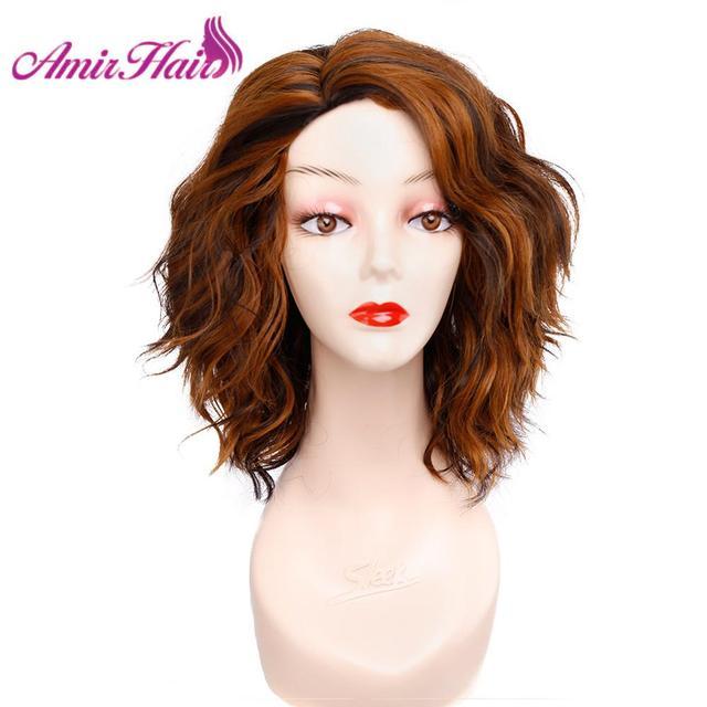باروكات شعر مستعار قصيرة متموجة للنساء شعر مستعار طبيعي أسود كوسبلاي باروكة شعر أشقر للحفلات اليومية