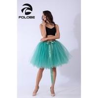 FOLOBE Grass Green Handmade Midi Tulle Skirt American Apparel Tutu Skirts Women Ball Gown Party Petticoat